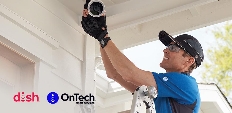 OnTech technician installing an outdoor camera
