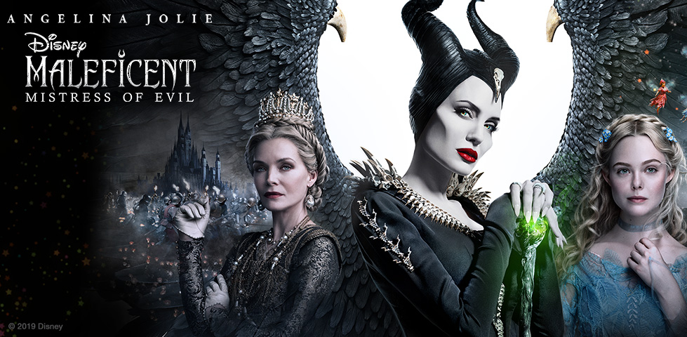 Angelina Jolie with black horns and wings as Disney's Maleficent