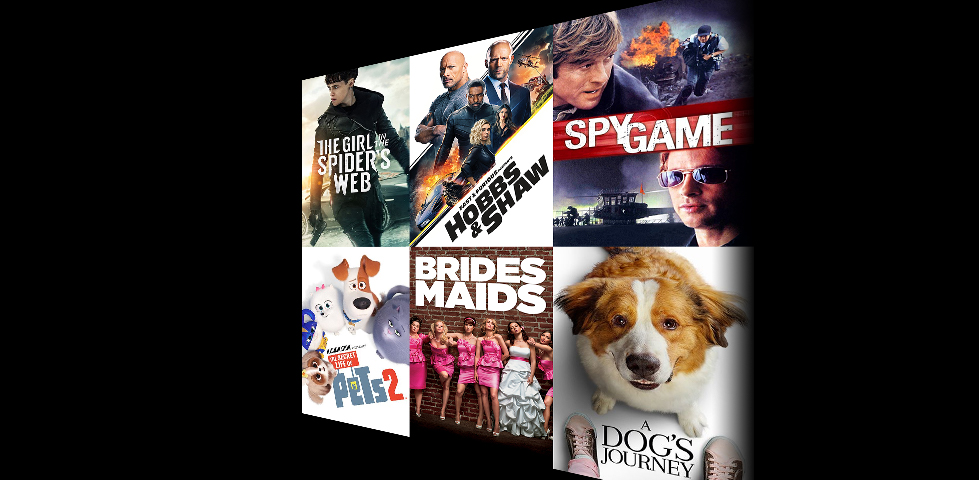 Featured movies for purchase include Girl in the Spiders Web, Hobbs and Shaw, Spy Game, Secret Life of Pets, Bridesmaids, Dog's Journey, and more