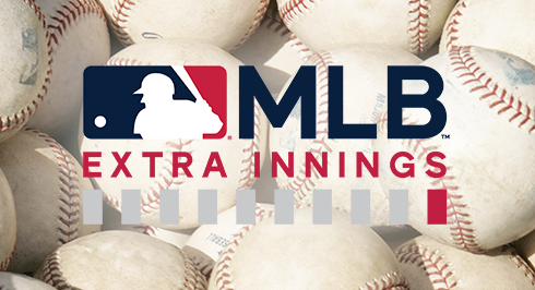 MLB Extra Innings logo over a close-up of a pile of baseballs