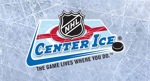 NHL Center Ice over a scratched ice surface