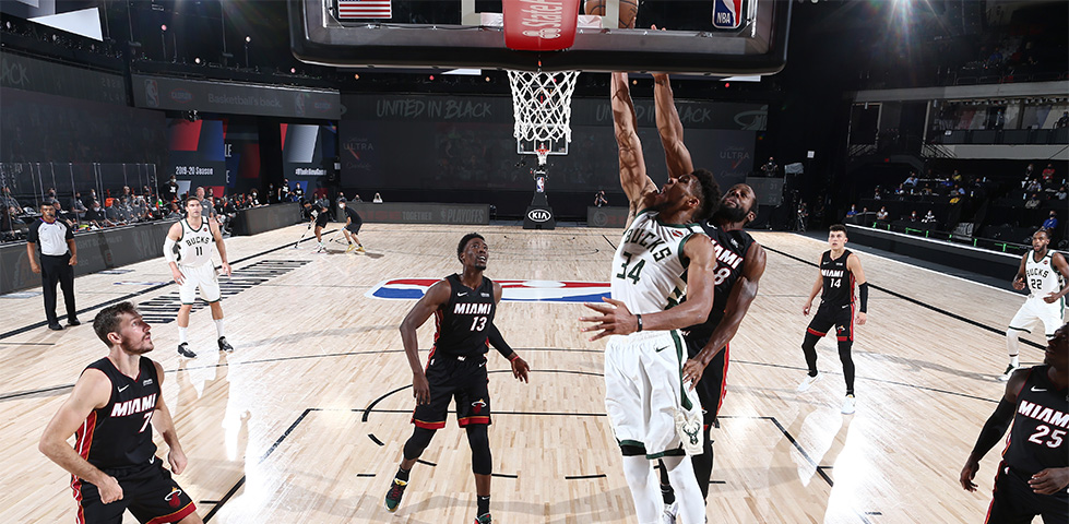 NBA League Pass: Milwaukee Bucks player Giannis goes for the net