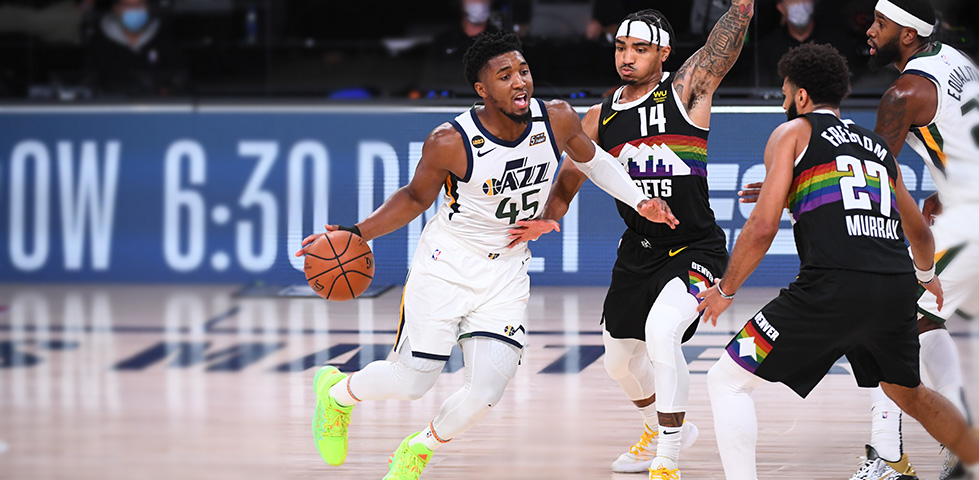 Utah Jazz player Donovan Mitchell with the basketball