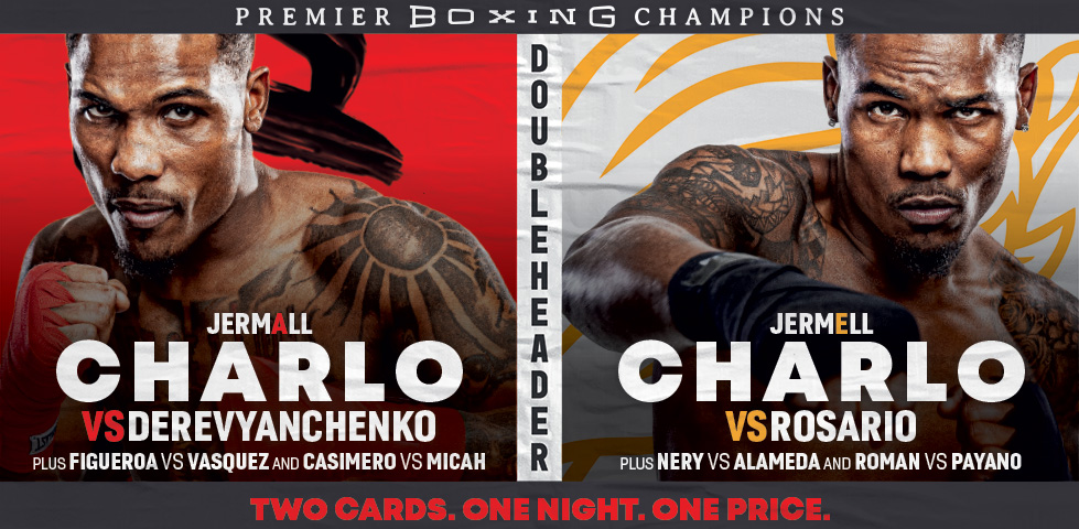 Jermall and Jermell Charlo in a double-header boxing event - two cards, one night, one price.
