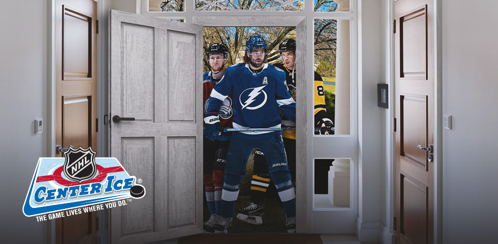 NHL players standing at the front door