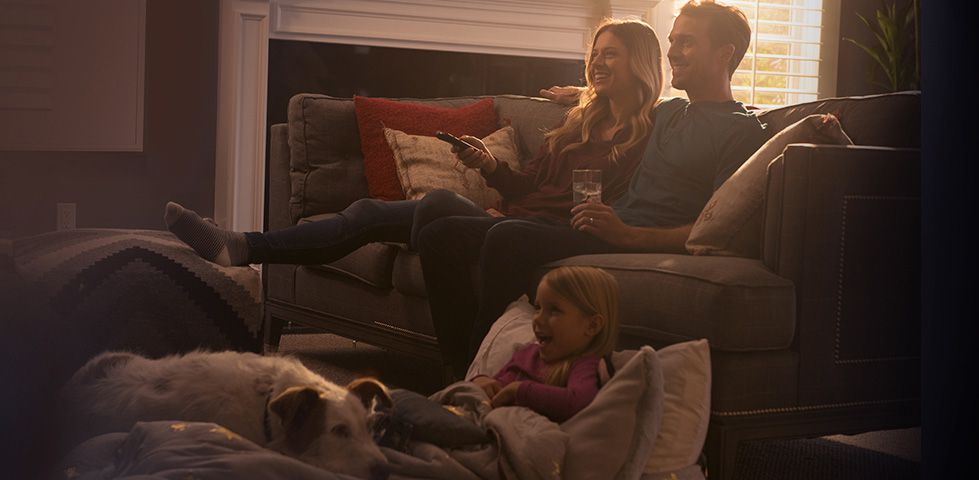 Family watching TV with the Hopper 2 DVR