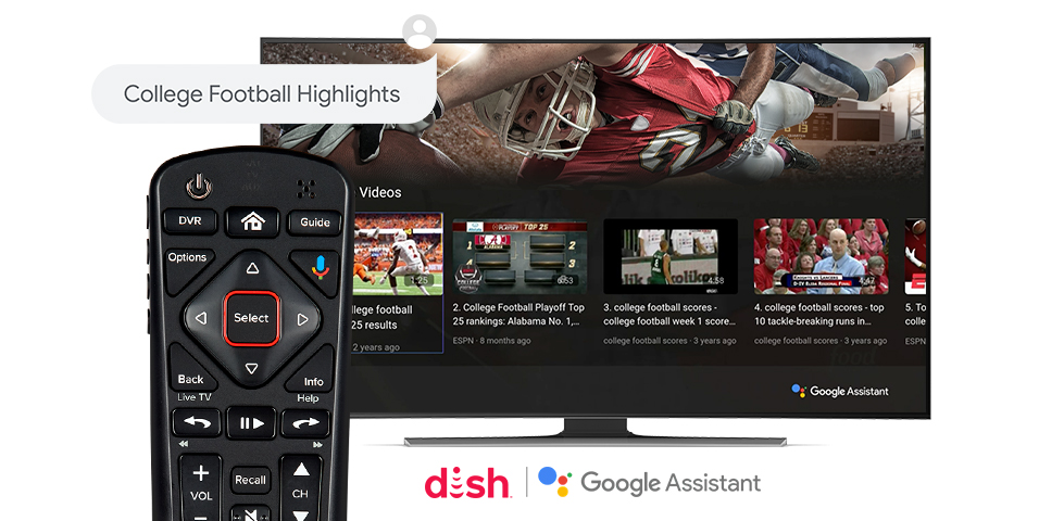 DISH Voice Remote in front of TV showing college football highlights