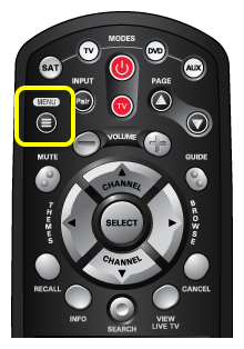 menu button on the 40.0 remote (first button in the second row of buttons)