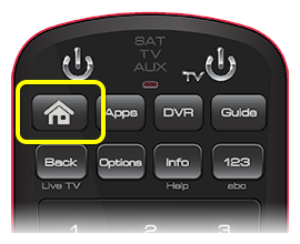 Home button on 50.0 remote (first button in the top row of four buttons)