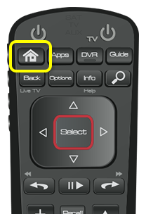 Home button on 52.0 remote (first button in the top row of four buttons)