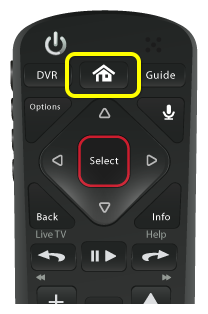 Home button on 54 series remote (second button in the top row of three buttons)