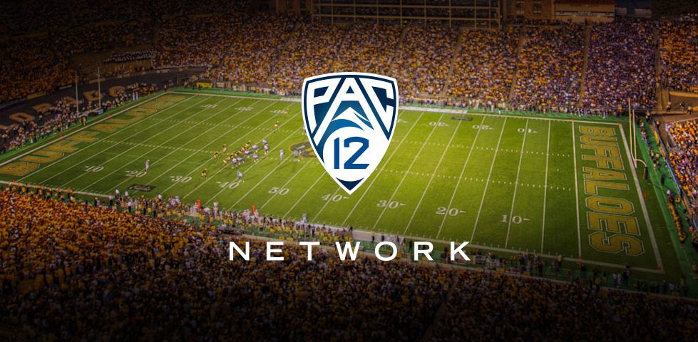 Pac 12 logo over a football stadium at night