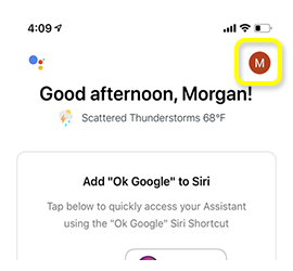 Account menu circle on main page of Google Assistant app.