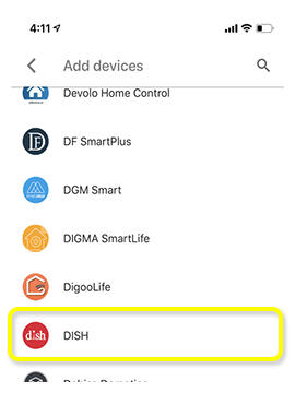 List of device options including DISH.
