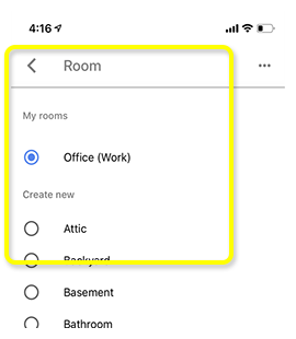 List of available rooms to assign to receiver, with back arrow above.