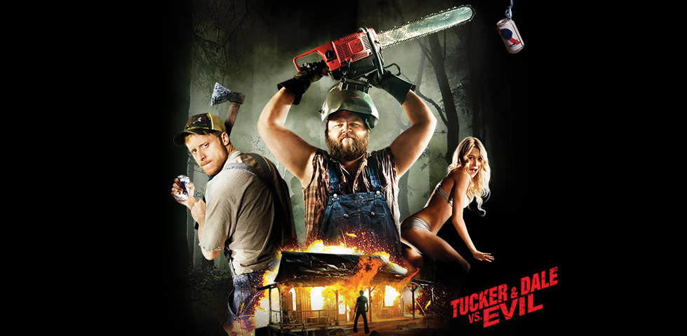 Alan Tudyk and Tyler Labine as hillbillies Tucker and Dale