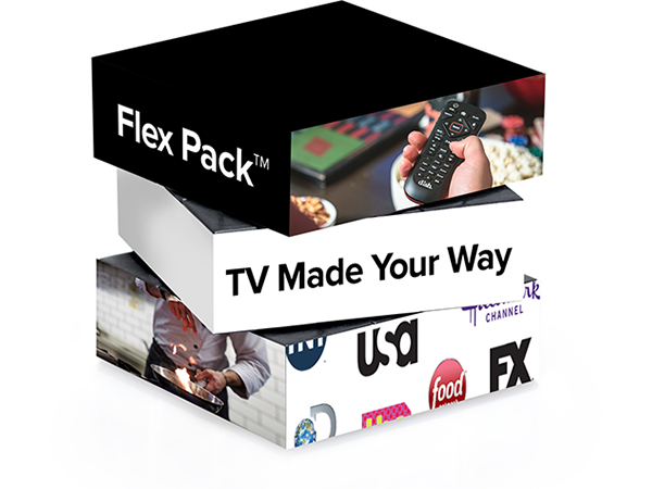 Three blocks stacked on each other, one with FLEX PACK on it, one with TV MADE YOUR WAY, and one with various network logos